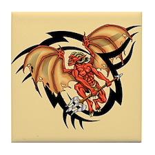 Winged Devil Tattoo Tile Coaster