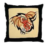 Winged Devil Tattoo Throw Pillow