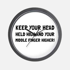 Middle Finger Higher Wall Clock