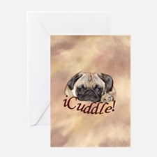 Adorable iCuddle Pug Puppy Greeting Cards