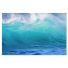 Turbulent Turquoise Wave With Windspray, Blurred Poster