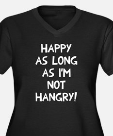 Happy as lon Women's Plus Size V-Neck Dark T-Shirt