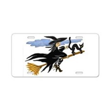 Funny Witch Aluminum License Plate