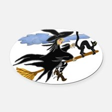 Cute Halloween witch Oval Car Magnet