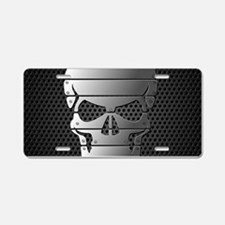 Chrome Skull Aluminum License Plate