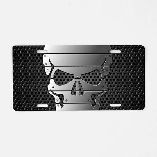 Chrome Skull Aluminum License Plate