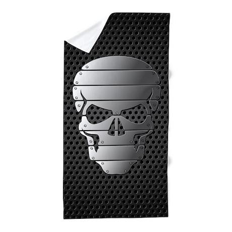 Chrome Skull Beach Towel by FuzzyChair