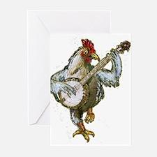 Banjo Chicken Greeting Cards