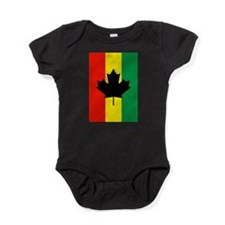 Rasta Reggae Maple Leaf Flag Baby Bodysuit
