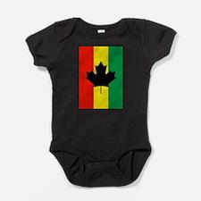 Rasta Reggae Maple Leaf Flag Baby Bodysuit