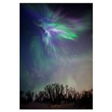 View Of The Aurora Borealis Over The Chugach Mount Canvas Art