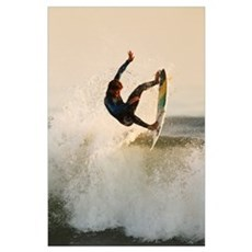 California, San Clemente, Surfer Catching Air On W Poster