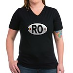 Romania Intl Oval Women's V-Neck Dark T-Shirt