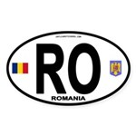 Romania Intl Oval Oval Sticker