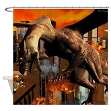 Attack of a dragon Shower Curtain