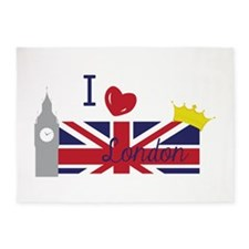 I Love London 5'x7'Area Rug