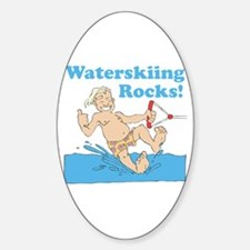 Waterskiing Rocks Oval Decal