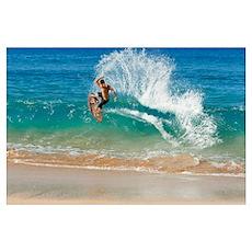 Hawaii, Maui, Makena, Skimboarder Carves Big Turn Poster