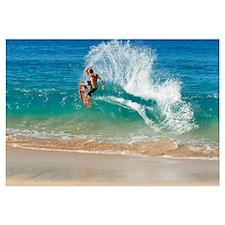 Hawaii, Maui, Makena, Skimboarder Carves Big Turn