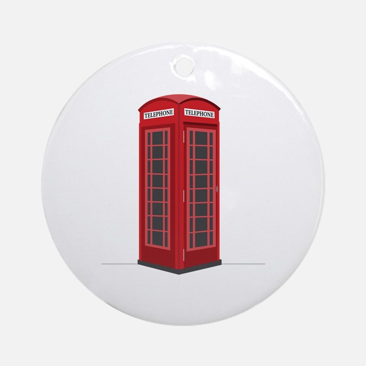 London Phone Booth Ornament (Round)