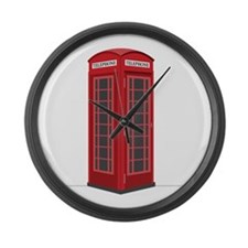 London Phone Booth Large Wall Clock