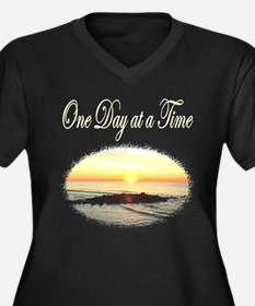 ONE DAY AT A Women's Plus Size V-Neck Dark T-Shirt
