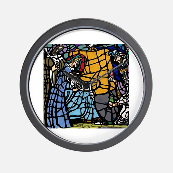 Stain Glass Nativity Wall Clock