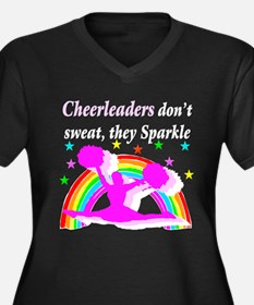CHEERLEADER Women's Plus Size V-Neck Dark T-Shirt