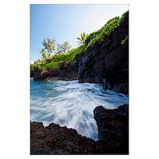 Hawaii, Maui, Hana, The rocky coastline of Waianap Poster