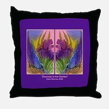 CROW and Iris Garden Throw Pillow
