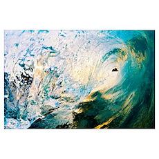 Hawaii, Maui, Makena, Beautiful Blue Wave Breaking Poster