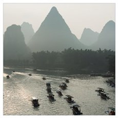 Boats Along The Li River At Sunset, Guilin, Guangx Framed Print