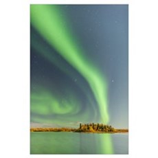 Northern Lights Reflected In Water of Chena Lakes Poster