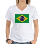 Brazil Flag Women's V-Neck T-Shirt