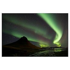 Northern Lights Over Kirkjufell, Grundarfjorthur,  Poster
