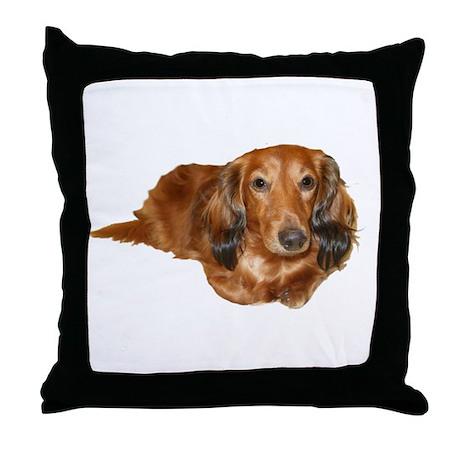 Long Hair Red Dachshund Throw Pillow