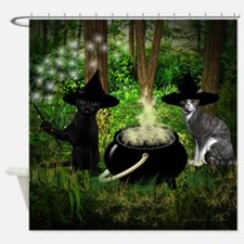 Witch Cats And Cauldron Shower Curtain