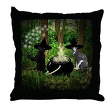 Witch Cats And Cauldron Throw Pillow