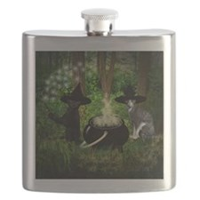 Witch Cats And Cauldron Flask