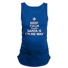 Keep Calm Santa On Way Maternity Tank Top
