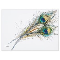 Watercolor Painting Of Two Peacock Feathers Poster