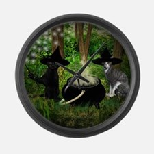 Witch Cats And Cauldron Large Wall Clock