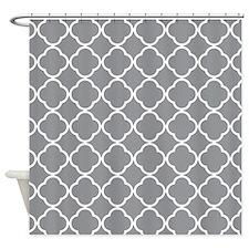 gray Quatrefoil pattern Shower Curtain