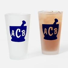 Blue Monogram Mortar and Pestle Drinking Glass