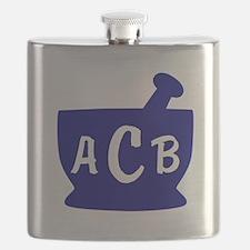 Blue Monogram Mortar and Pestle Flask