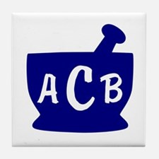 Blue Monogram Mortar and Pestle Tile Coaster