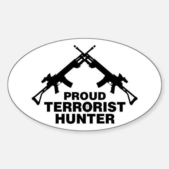 Proud Terrorist Hunter Oval Decal