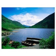 Doo Lough, Delphi, Co Mayo, Ireland; Boats On The  Poster