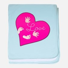 Love with Baby Hand and Footprints baby blanket