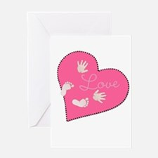Love with Baby Hand and Footprints Greeting Cards